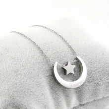 2017 Moon and Star Solid Necklace for girlfriend Rose Gold Stainless Steel Pendant Chain Necklace Wholesale Fashion Jewelry