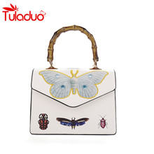 2017 Leather Women Handbags Embroidered Butterfly Bamboo Handle Totes Bag Luxury Ladies Handbag Women's Shoulder Bags Sac A Main(China)