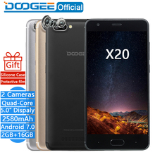 DOOGEE X20 Mobile phone Dual Camera 5.0MP+5.0MP Android 7.0 2580mAh 5.0''HD MTK6580A Quad Core 2GB RAM 16GB ROM Smartphone WCDMA(China)
