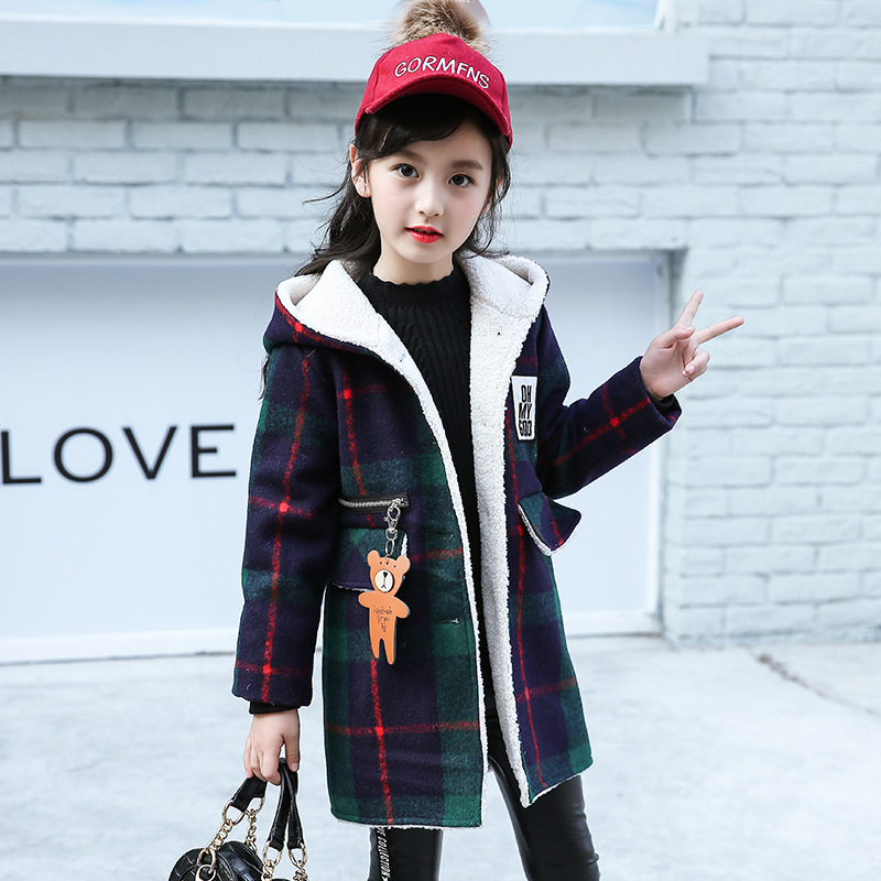 Girls jackets 2018 new wild in the long section of the autumn and winter lambs wool thick cotton padded coat 3-12 years old<br>