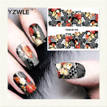 YZWLE 1 Sheet DIY Decals Nails Art Water Transfer Printing Stickers Accessories For Manicure Salon YZW-8118