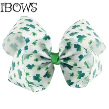 "1Pc 7""Large Green Hair Bow St.Patrick's Day Girl Clover Big Ribbon Bowknot Bows With Alligator Hair Clip Holiday Hair Accessory"