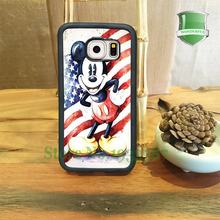 Mickey Mouse Retro Usa Flag Mobile Phone Cases For Samsung S7 S7 edge S6 S6 edge plus S5 S4 S3 Note5 Note4 Note3 U*0181