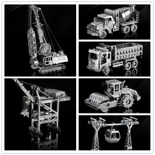HK NANYUAN 3D Metal Assembly Model Jigsaw Puzzle Toys Mixer A Pirate Boat Roller Coaster Roller Excavating Machinery(China)