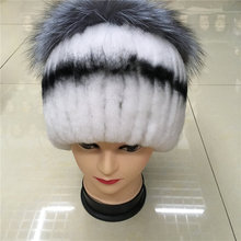 In 2016, the new women winter rex rabbit fur hats and fox fur and knitting wool lined with women's warm fur knitting fashion hat