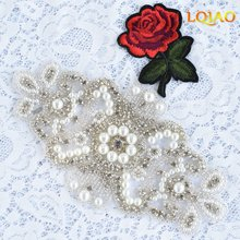10pcs/lot flower popular new-style clear crystal rhinestone applique beaded strass trimmings hotfix motif for garment accessory
