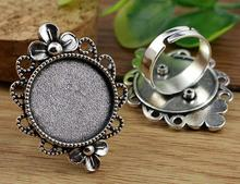 20mm 5pcs Antique Silver Plated Brass Adjustable Ring Settings Blank/Base,Fit 20mm Glass Cabochons,Buttons;Ring Bezels K4-29