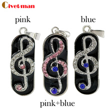 pendrive usb flash drive crystal music tag necklace 8gb 16gb32gb pen drives flash usb memory jewelry note usb flash memory gift