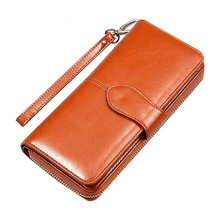 Women Wallet Leather Card Coin Holder Money Clip Long Clutch Phone Wristlet Trifold Zipper Cash Photo Famous Brand Female Purse