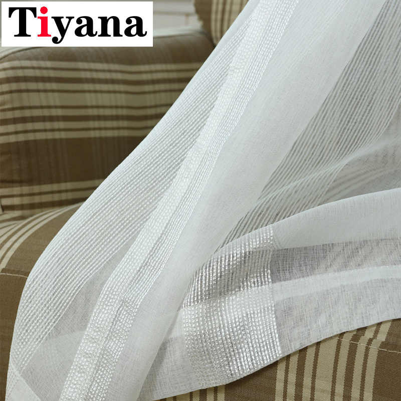 Simple Modern Pure White Striped Sheer Curtains For Living Room Summer Gauze Purple Window Screen Door Balcony Cortina P37D3