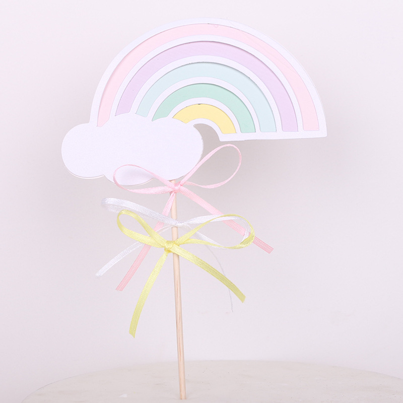 1pc Rainbow Cake Topper Cake Flags Baby Shower Birthday Party Decor Children Kids Christmas Party Cake Decor Supplies