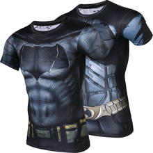 New Fashion Men Batman Tights Quick Dry Summer t shirt High Quality Fitness Clothing Breathable Sweat shirt Men Crossfit(China)