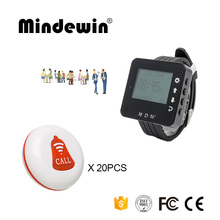 Mindewin Wireless Restaurant Calling System 20PCS Service Call Button M-K-1 + 1PCS Watch Pager M-W-1 Waiter Paging System(China)