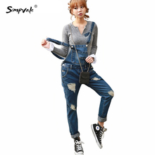 Autumn Slim Casual Denim Overalls Women Jumpsuit Rompers ladies Ripped Jeans Woman Fashion Salopette Femme Bib Clothing