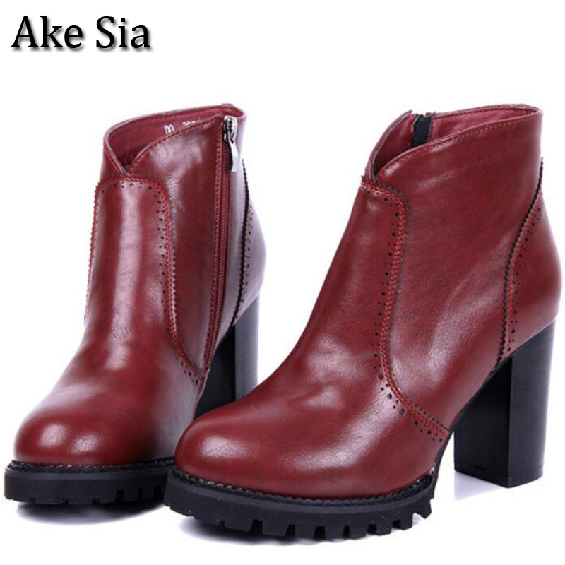Ake Sia Womens Retro Autumn Winter Warm Snow Martin Ankle Boots Patent Leather Slip-On Bottine Platform Flats Shoes Booties F020<br>