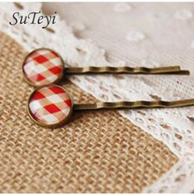 SUTEYI Urban Youth Scottish Tartan red white glass cabochon print hair clips for girls Simple copper hair accessory women hand
