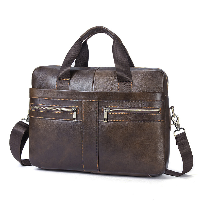 Vintage Brand Design Natural Cowkin Mens Briefcase Business bags Genuine Leather Shoulder Messenger bags for Men<br>