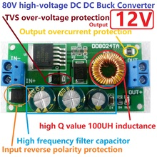 9W High-Voltage DC-DC Converter 80V 72V 64V 60V 48V 36V 24V to 12V Buck Step-Down Module for Wifi Bluetooth Wireless Controller