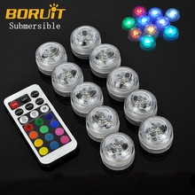 10pcs Flameless Electric Submersible Remote Control Candle Lights New Year kaarsen Wedding Floral Tea Lamp LED Aquarium Lamp(China)