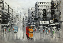 Hand Painted  Knife Oil Painting on Canvas Abstract Hong Kong Trams Street Canvas Painting Wall Art  Picture for Home Decoration