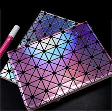 Luxury Colorful Bling Laser Diamond Flip Stand Leather Case Smart Cover For Apple ipad mini 4 Shell Bag(China)