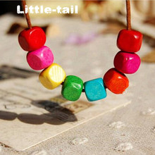 New listing LITTLE-TAIL hand-made color eight small wooden beads necklace retro fashion trend high-quality necklace