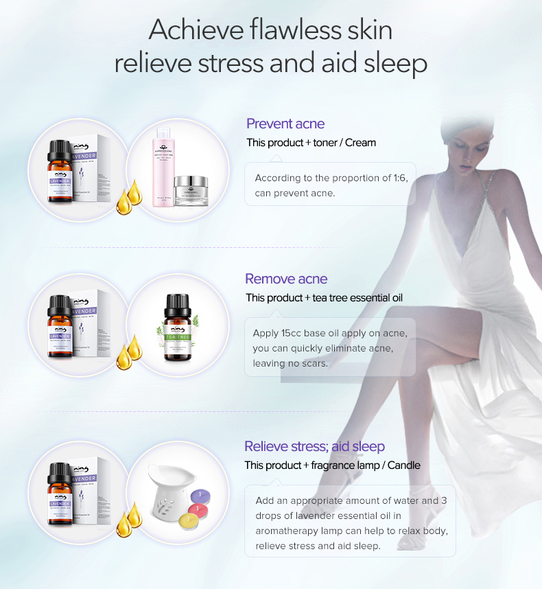 EXPRESSIONS 100% Pure Lavender Essential Oil for Acne Treatment Fade Acne Marks Remove Whelk Shrink Pore Face Care Help Sleep 21