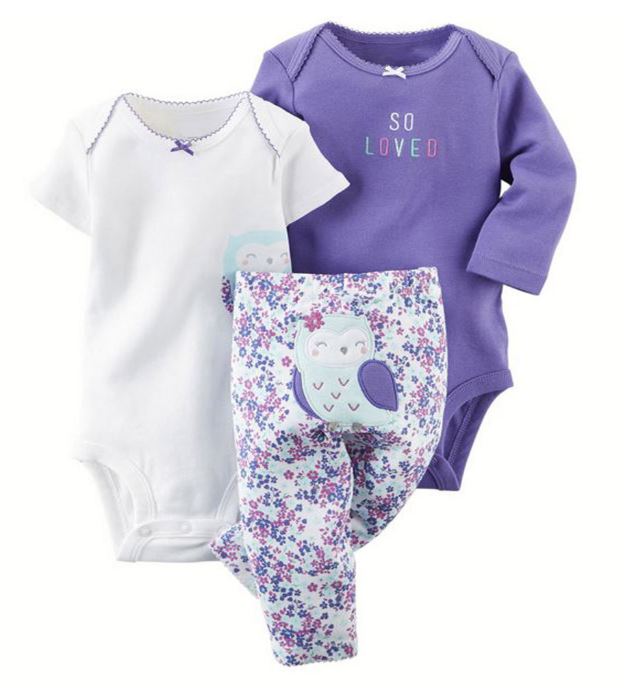Free ship 100% Cotton 2017 New baby boy girl clothes set , kids bebes girl purple owl 3pcs clothing set ropa suit<br><br>Aliexpress
