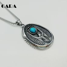 CARA New Vintage color 316L stainless steel eagle Badge pendant necklace with blue mable stone mens fashion necklace CARA0300(China)