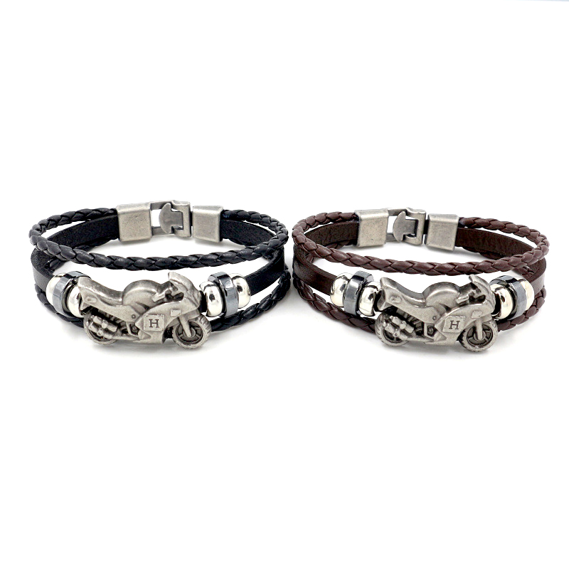 Fashion Tourism Jewelry Men's Women's Hemp Rope Alloy Motorcycle Feather Vintage Leather Bracelet Hemp Rope Woven Casual Bracele 11