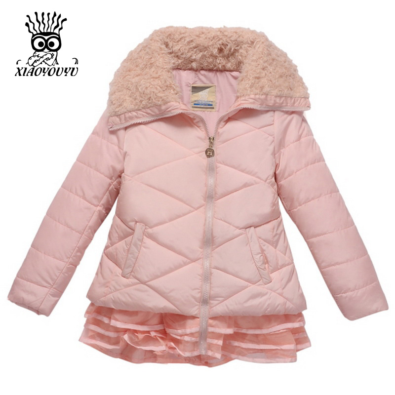 XIAOYOUYU Size 110-160 Children Outdoor Winter Jacket High Quality Rose Red / Pink Warm Kids Girl Fashion Casual Coat<br>