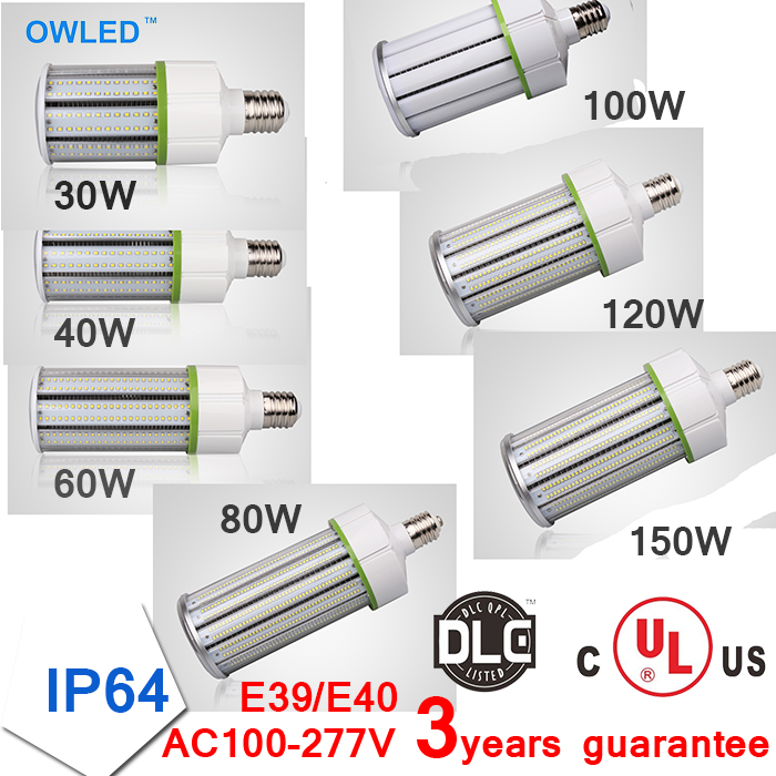 UL DLC Listed E26/E39 LED Light Design Corn Bulb 30w 40w 60w 80w 100w 120w 150w Outdoor High Luminous Output 120lm/Watt <br>