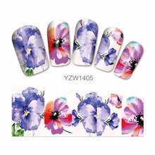 WUF 1 Sheet Water Decals Flower Nail Stickers French Tips Nail Art Decorations For Nails Tools 1405(China)