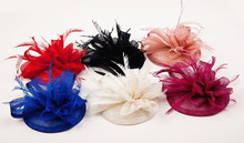 Women Sinamay Fascinator Headwear Feather Flower Hair Clip Wedding Hats And Fascinators Bridal Hair Accessories Chapeu Casamento(China)