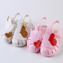 Jelly Girls Sandals Crystal Shoes Peace Pigeon Love Heart Kids Shoes Candy Smell Sandals Non-Slip 14-19CM Size 24-29 Pink White(China)