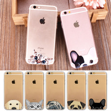 "Cute Cartoon Animal Cat Dog BULLDOG Phone Case For iPhone 6 6s Plus 7/8 7/8Plus 4.7"" 5.5"" Clear Soft TPU Gel Flexible Skin Cover(China)"
