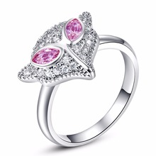 Wholesale Women Fashion rings The Fox Animal Design Pink CZ  White Gold Color Ring Weding Engagement Lovely Jewelry