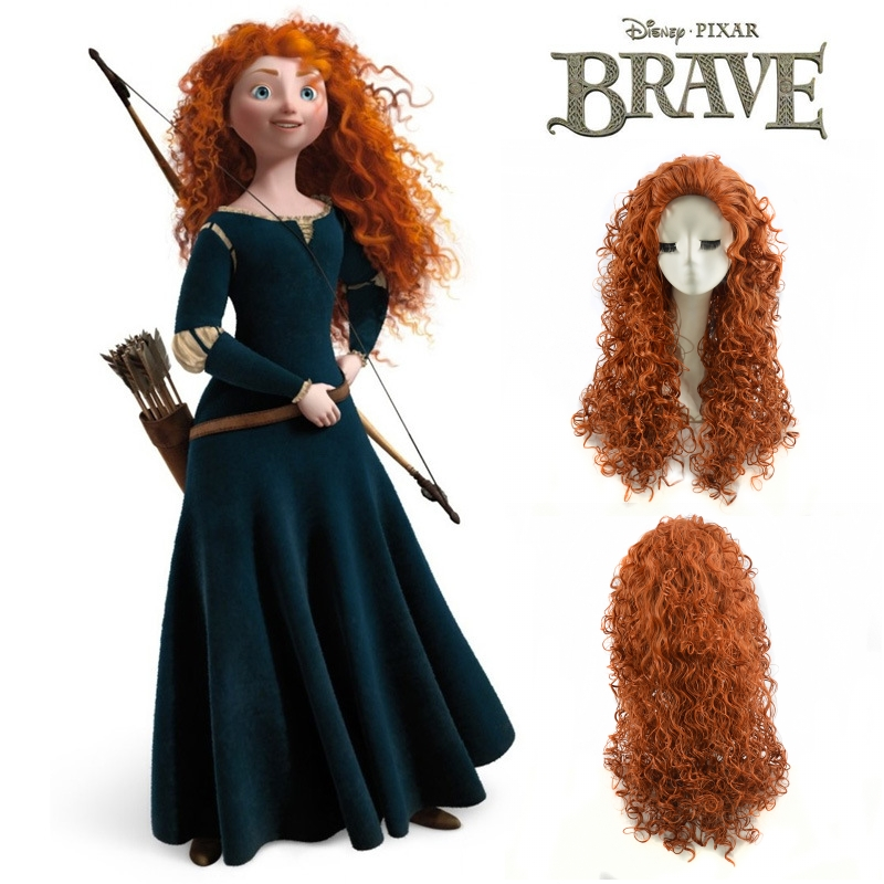 Anime Brave Merida long curly orange cosplay wig,Top quality heat resistant kanekalon synthetic hair peruca<br><br>Aliexpress