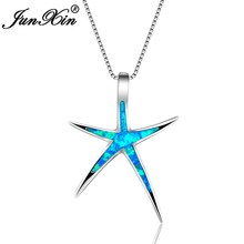 JUNXIN Fashion Blue Fire Opal Necklace Women Star Necklace White Gold Filled Necklaces & Pendants Vintage Wedding Jewelry
