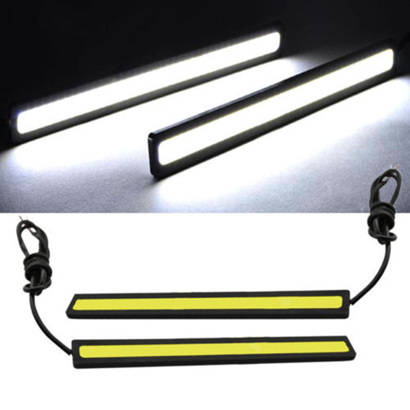 1 Pair 14cm LED COB 84 Chip Pure White Car Auto Driving DRL Daytime Running Lights Lamp Waterproof Bar Strip DC12V Universal(China (Mainland))