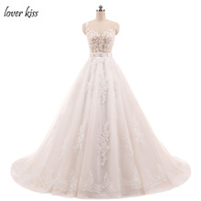 Lover Kiss Wedding Dress New 2017 Ball Gowns Sleeveless Lace Appliques Body Pearls Sashes Real Image Vestido De Noiva(China)