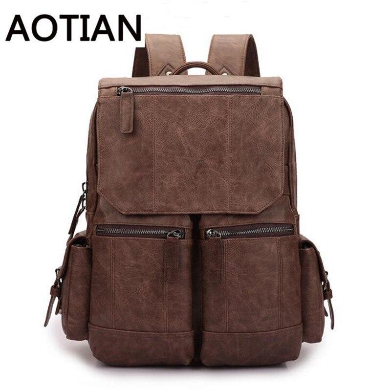 Hot High Quality Men Backpack Vintage Man Bagpack Street Travel Shopping Backpack Escolar PU Leather Travel Luggage Backpacks<br>