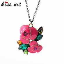 Fashion fashion accessories glaze rose women's design long necklace Factory Wholesale(China)