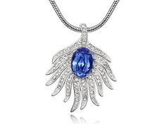 Austria Blue Crystal Peacock Feather Pendant Necklace Unique Design Jewellery Women Jewelry NXL0054