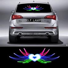 90*25cm Angel Hearts Flash Car Sticker Music Rhythm LED EL Sheet Light Lamp Sound Music Activated Equalizer(China)