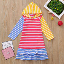 Autumn Winter Childern Girls Party Dresses Toddler Baby Girls Long Sleeve  Striped Print Hoodie Dress Outfit bc7450664786