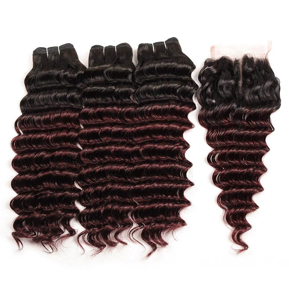Pinshair Pre-Colored T1BBurg Deep Wave Hair Brazilian 3 Bundles With Closure Non-remy Human Hair Weave Bundles With Closure (71)
