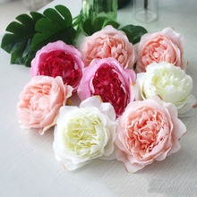 10pcs High Simulation Core Peony Flower Head Silk Flower DIY Wedding Flower Wall Background Decoration Rose Silk Flower(China)