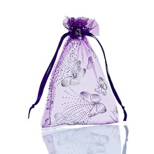 25PCs 9x12cm Dark Purple Butterfly Organza Gift Jewelry Bags Wedding/Christmas Favor Fine Gifts Package Storage Organizer
