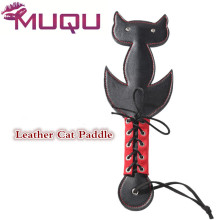 Buy Black Leather Fetish cat Paddle menottes spanking flogger butt pat sex toys bdsm leather whip harness men sex products sex dice